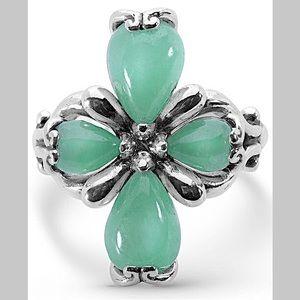 NWT CAROLYN POLLACK Green Jade Flower Cross Ring 8